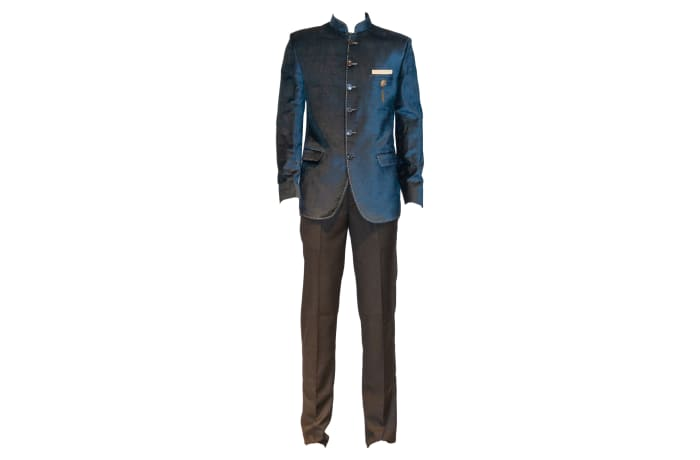 George Jodhpuri Suit Navy Jacket Black Trousers