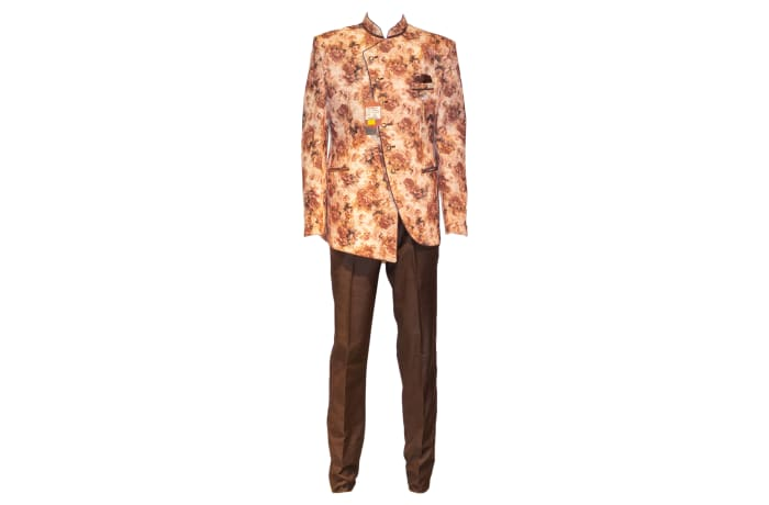 George Jodhpuri Suit Peach-Brown Jacket Black Trousers
