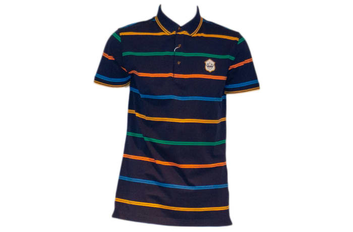 Psoulz Polo Shirt black with colour stripes
