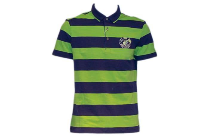 Psoulz Polo Shirt green and blue stripes