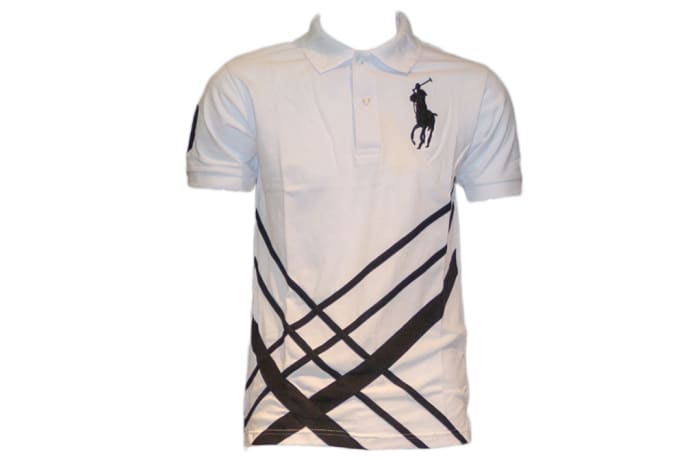 Ralph Lauren Polo Shirt white black stripes