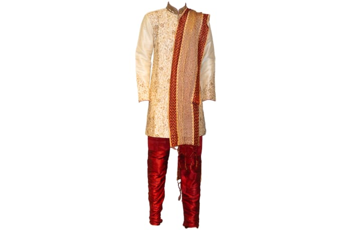 Sherwani Outfit Gold and Red