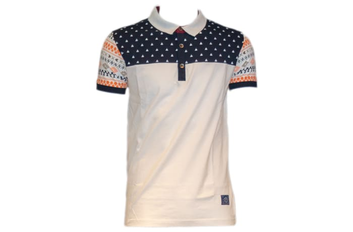 Status Quo Polo Shirt white with blue and orange