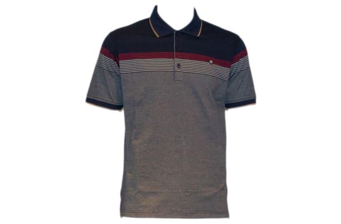 Tony Montana Polo Shirt grey with blue and maroon