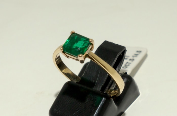 Gold Emerald Engagement Ring