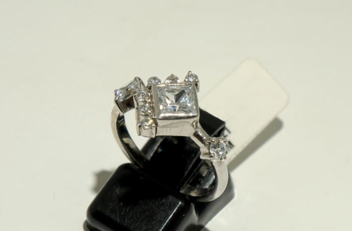 Fancy Silver Engagement Ring