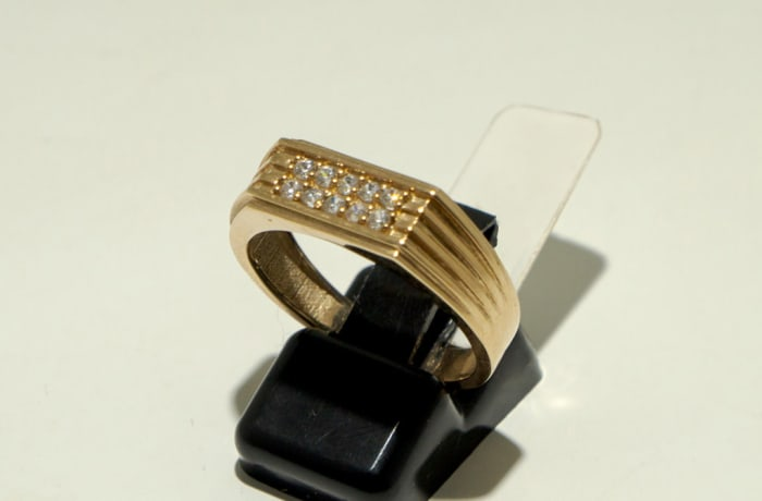 Men's Band Gold Ring with Crystals