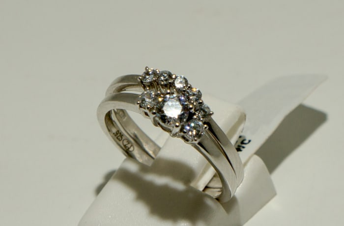 Double Silver Wedding Ring with Crystals