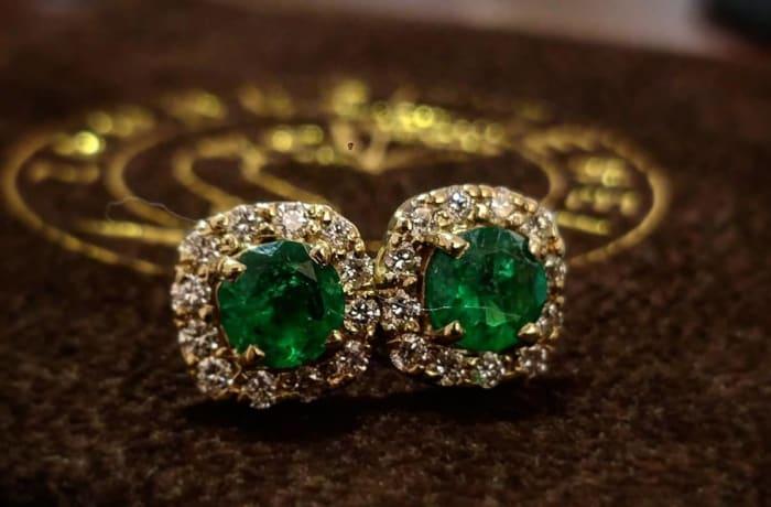 Shop Gold, Emerald and Diamond Studs at Zambezi Jewels image