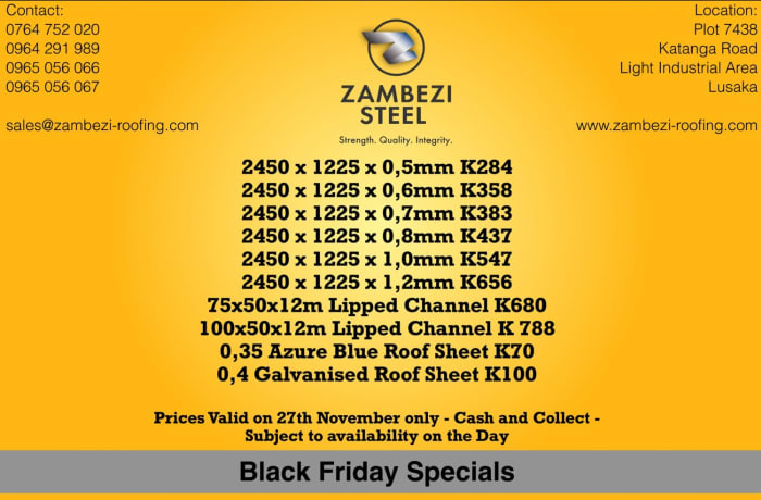Black Friday Specials on steel products and roofing mterials image