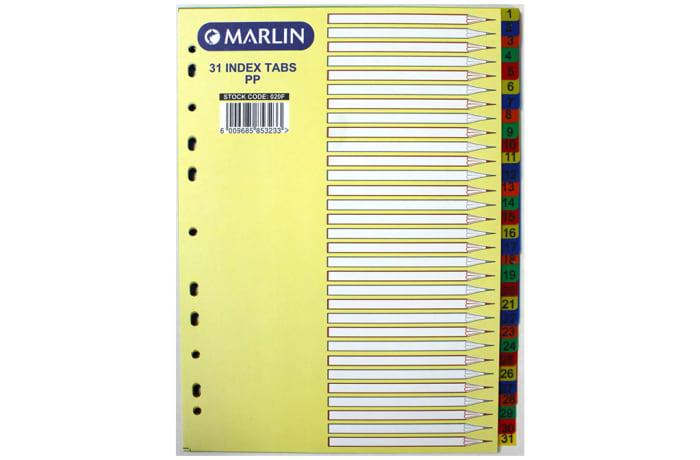 File Dividers 1-31 PVC