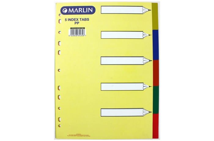 File Dividers 5 tab colour PVC