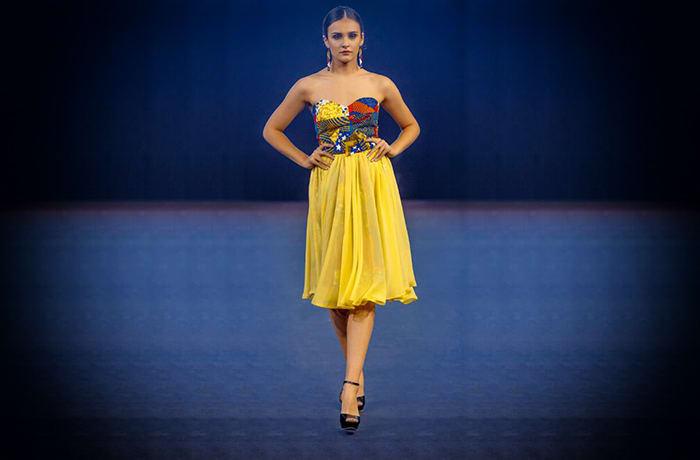Strapless yellow dress with ethnic bodice