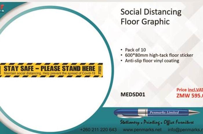 Social distancing floor graphic image