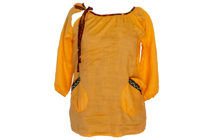 Linen Smock Top with Chitenge Accents - Orange