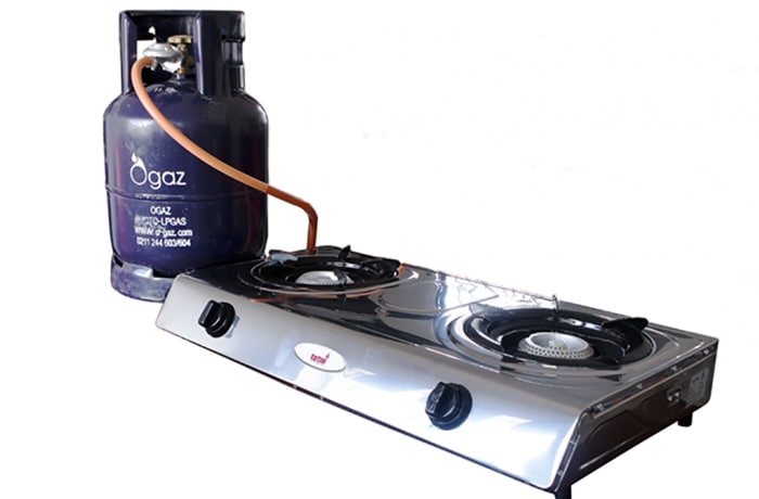9kg LPG, gas & stainless steel 2 plate stove set