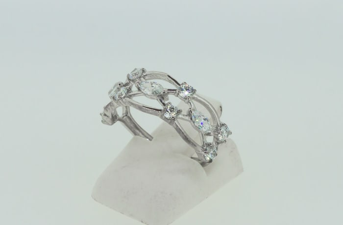 Engagement silver and crystal armour ring  image