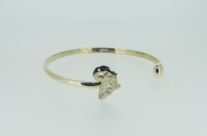 Silver bangle with Africa map image