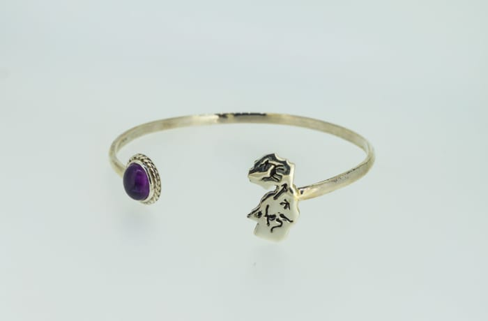 Silver bangle with amethyst and Zambia map image