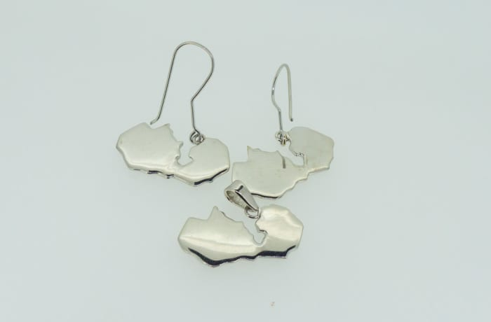Silver Zambia map pendant and earring set image