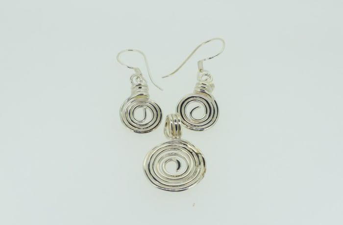 Silver rings pendant and earring set image