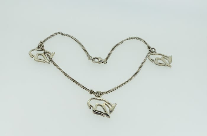 Silver necklace with donkeys image