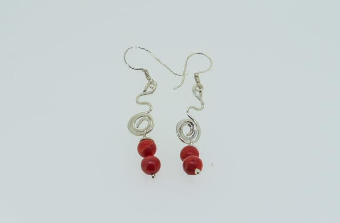 Silver earrings with ruby gemstones image