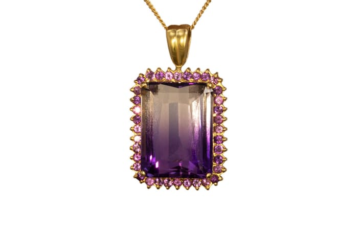 Yellow Gold Amethyst  Pave Classic Pendant  image