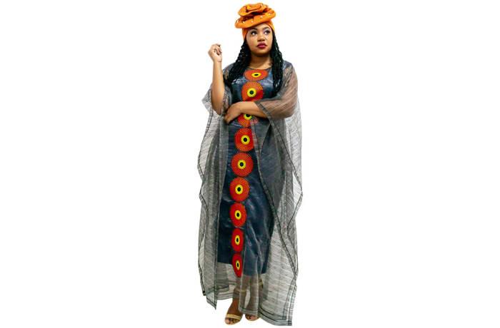 Ankara Bubu - Grey with red circles orange head wrap image
