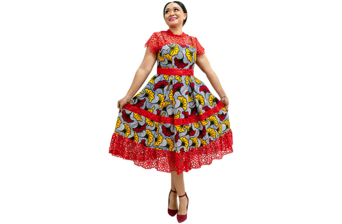Ankara dress with red lace image