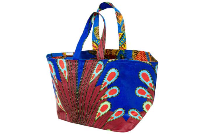 Ankara shopping bag - Maroon & blue image