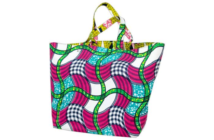 Ankara shopping bag - Pink, green & blue image