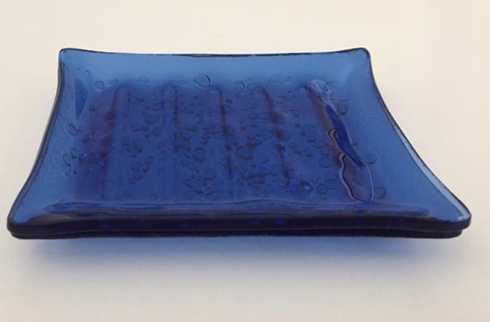 Blue glass Soap dish image