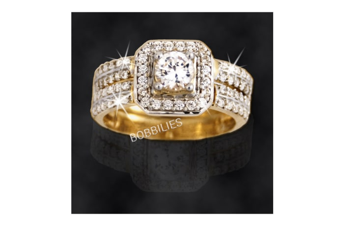 Women's Gold Wedding ring with embedded with 4 rows of Diamonds in silver image