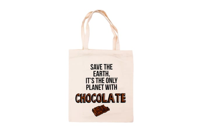Canvas Tote Bag - Save The Earth It's The Only One With Chocolate  image