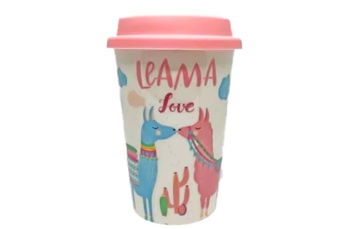 Mug  Ceramic Cup with Lid  Llama Love image