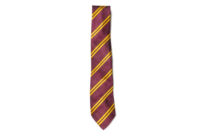Maroon with Gold Stripes Neck Tie image