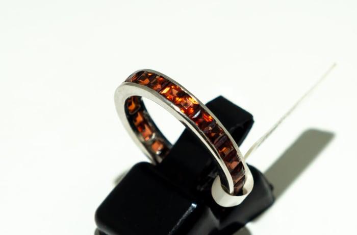 Channel setting wedding red garnet ring  image