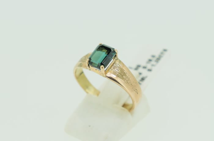 Yellow gold 14k dark green tourmaline gemstone ring image