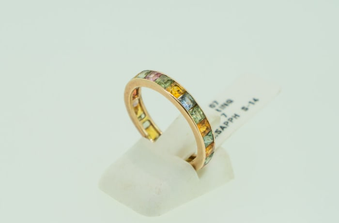 Gold 14k wedding band channel setting multi sapphire gemstones image