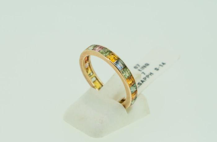 Gold 14k wedding band channel setting multi sapphire gemstones image