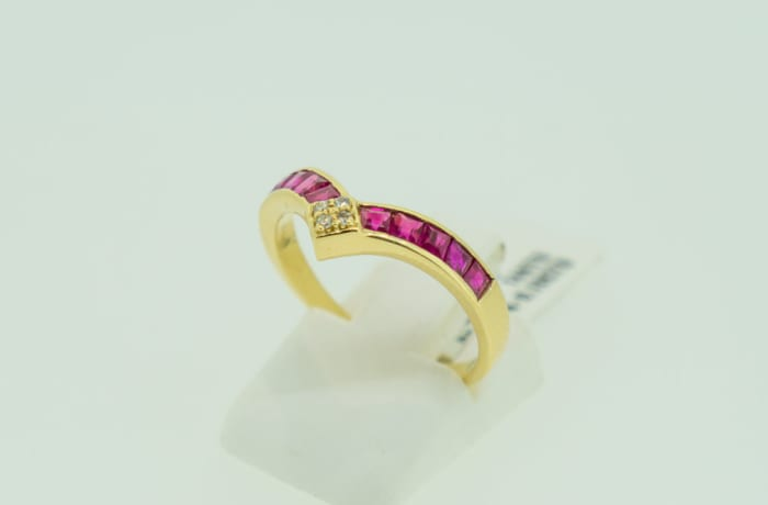 Yellow gold 14k channel setting diamond and ruby ring image