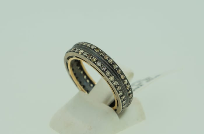Men's wedding band with two channels of diamonds 14k image
