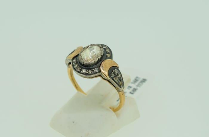 Yellow gold 14k rose cut diamond ring  image