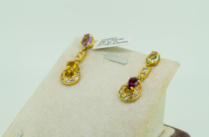 Yellow gold 18k multi color stone earrings image