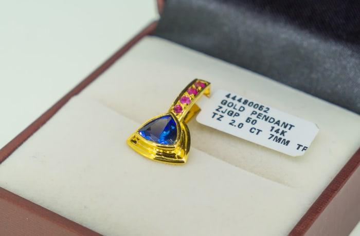 Yellow gold14k, sapphire and tanzanite pendant image