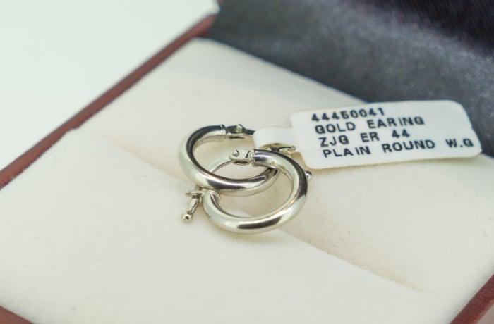 White gold 18k small plain loop earrings image