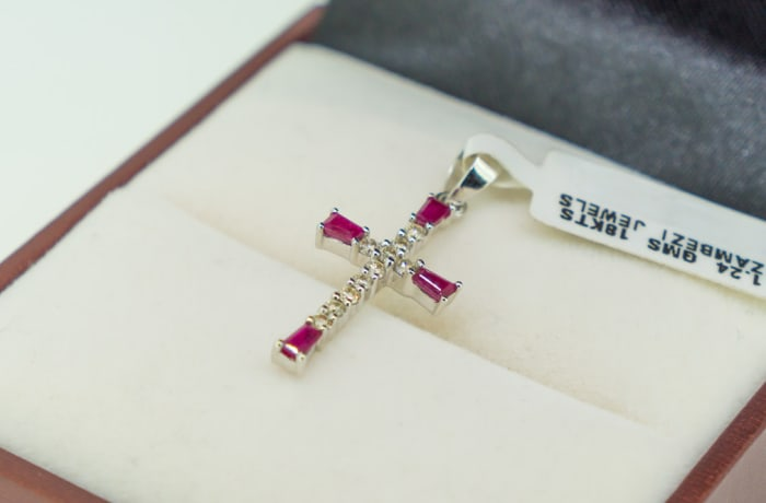 White gold 18k , ruby and diamond cross pendant image