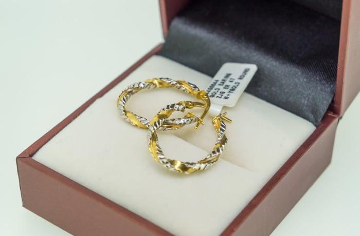 Yellow gold 18k twisted loop earrings image