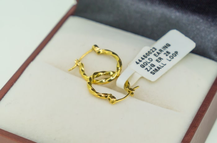 Yellow gold 18k small twisted loop earrings image
